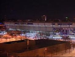 Image from TV shows the collapsed roof of the Minneapolis Metrodome on Sunday morning. (courtesy of KARE-TV)