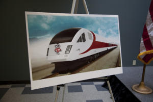 An artists rendering of the Wisconsin high speed train to be built by Talgo.