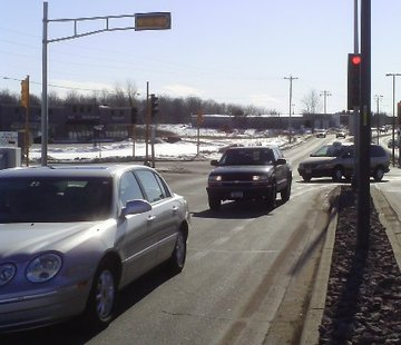 Cars turn onto Rib Mountain Drive from the Wal-Mart parking lot