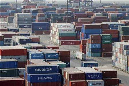 A view shows containers at the Longtan port in Nanjing, Jiangsu province in this November 10, 2010 file photo. REUTERS/Stringer