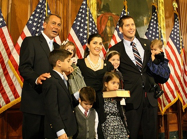 Representative Sean Duffy (R-Ashland) after taking the oath of office from House Speaker John Boehner