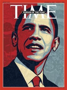 A handout photo shows the cover image of the December 29, 2008/January 5, 2009 double issue. The cover image was by ex-street artist Shephard Fairey. REUTERS/Shephard Fairey/TIME/Handout