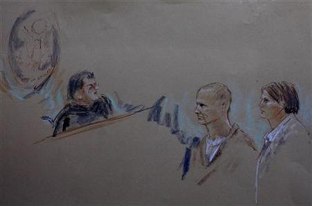 An artist's depiction shows accused gunman Jared Lee Loughner (C), his attorney, public defender Judy Clarke (R), and Judge Lawrence Anderson (L) during a court appearance in Phoenix, Arizona January 10, 2011. REUTERS/Joan Andrew