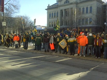 Green Bay Packers fans rally in downtown Green Bay on Friday, January, 21, 2011. (courtesy of FOX 11).