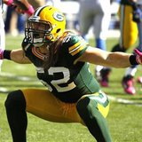 Green Bay Packers linebacker Clay Mathews celebrates after sacking Detroit Lions quarterback Shaun Hill for a four yard loss in the second quarter of a NFL football game at Lambeau Field Green Bay, Wisconsin October 3, 2010. REUTERS/Allen Fredrickson