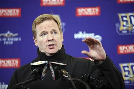 NFL commissioner Roger Goodell speaks during a news conference about the Minnesota Vikings' Metrodome stadium roof collapse before the start of the Vikings' NFC, NFL football game against the Chicago Bears at TCF Bank Stadium in Minneapolis, December 20, 2010. REUTERS/Eric Miller
