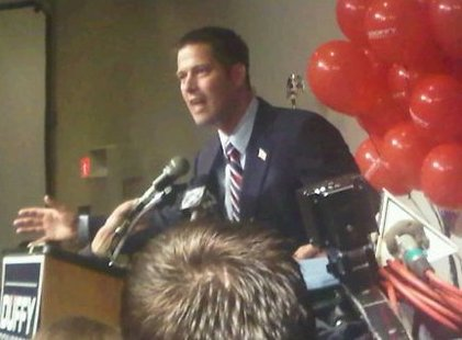 Sean Duffy claims victory in Wisconsin's 7th congressional district race.  The Republican prosecutor from Ashland addressed supporters at the Rose Garden in Wausau.