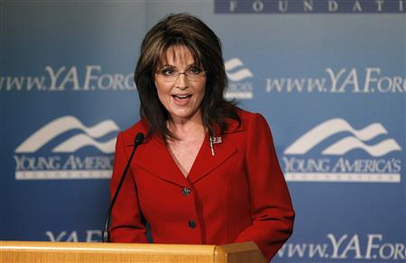 Former Alaska governor Sarah Palin delivers a keynote speech at the Reagan 100 opening banquet at Reagan Ranch Center in Santa Barbara, California February 4, 2011. REUTERS/Mario Anzuoni