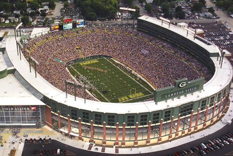 The stadium bowl at Lambeau Field.