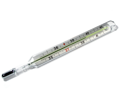 A mercury thermometer.