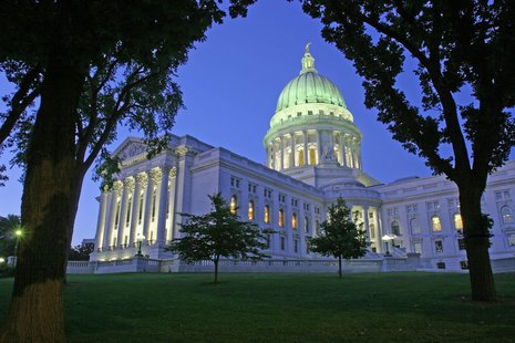 The Wisconsin State Capital building in Madison, WI