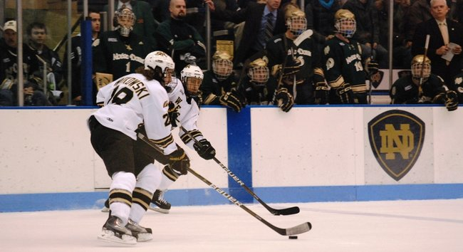 Western Michigan hockey closes out the regular season with a 2-0 win at Notre Dame - 02/26/11. Photos by Sean Patrick Duross