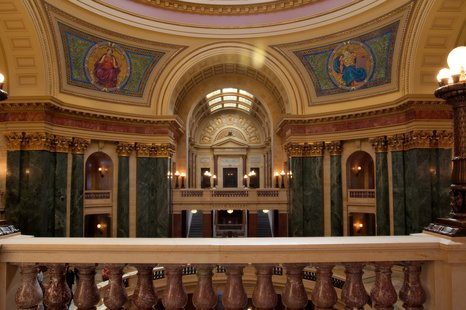 The interior of the Wisconsin State Senate.