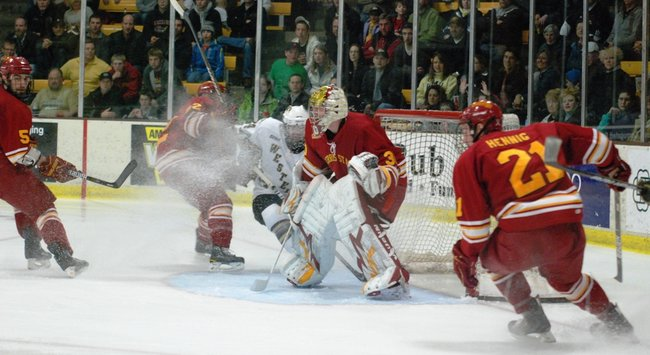 Western Michigan hockey wins a do-or-die CCHA playoff game with Ferris State at Lawson Arena to force a decisive Game 3 at Lawson Arena - 03/12/11.  Photos by Sean Patrick Duross.