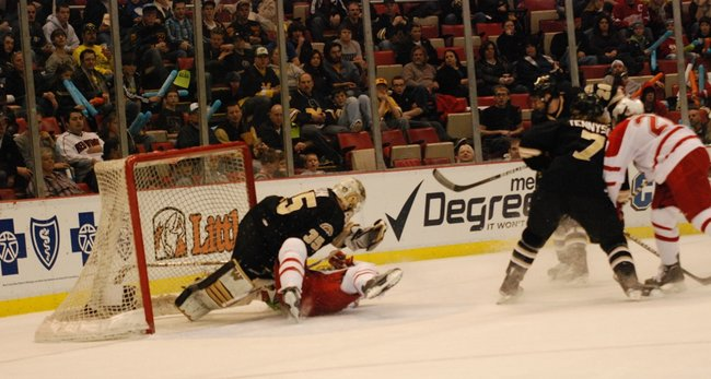 Western Michigan hockey faces Miami in the CCHA Championship game at Joe Louis Arena - 03/19/11.  The Broncos came up short 5-2.  Photos by Sean Patrick Duross.