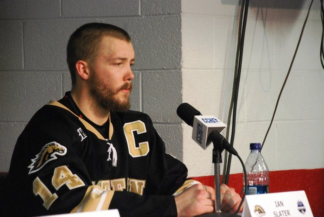 Western Michigan hockey captain Ian Slater following his Broncos' 5-2 Loss to Miami in the CCHA Championship game at Joe Louis Arena - 03/19/11.  Photos by Sean Patrick Duross.