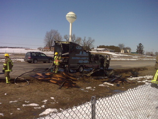 Truck fire on Hwy. 41 in the town of Lawrence, Wednesday, March 30, 2011. (courtesy of FOX 11)