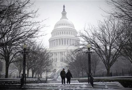 A couple walks the grounds of the U.S. Capitol Building as snow falls in Washington, January 30, 2010. REUTERS/Jason Reed