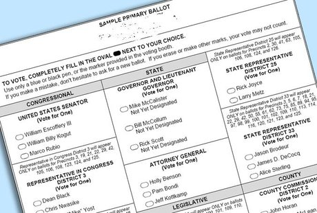 A sample ballot.
