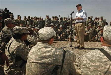 Defense Secretary Robert Gates speaks to the U.S. Army 25th Infantry Division Division troops from Hawaii during a visit to Camp Victory in Baghdad April 7, 2011. REUTERS/Chip Somodevilla/Pool