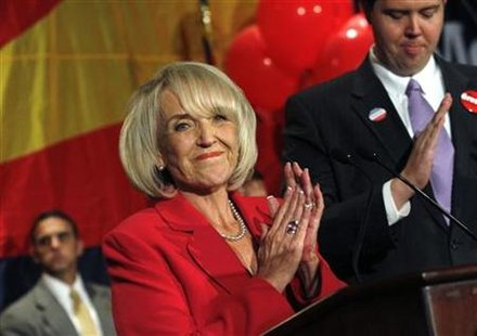 Arizona governor Jan Brewer (R-AZ) celebrates her victory after defeating Democratic gubernatorial candidate Terry Goddard in Phoenix, Arizona November 2, 2010. REUTERS/Joshua Lott