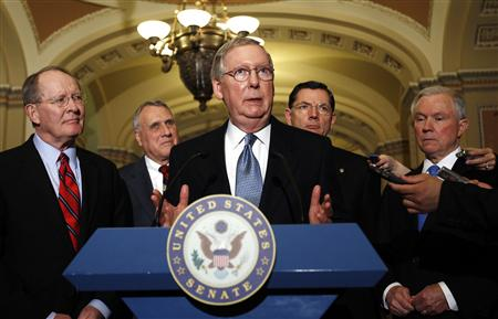 Senate minority leader Mitch McConnell makes a statement about the budget in the Capitol in Washington April 5, 2011. REUTERS/Kevin Lamarque