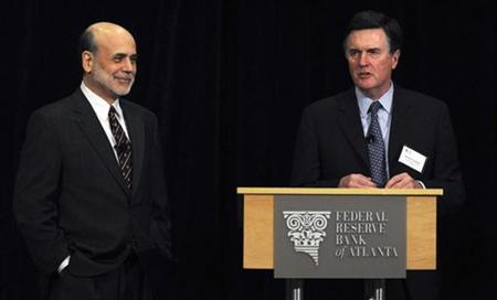 U.S. Federal Reserve Chairman Ben Bernanke (L) stands beside Atlanta Federal Chief Executive Officer Dennis Lockhart after his speech at the Federal Reserve Bank of Atlanta 2011 Financial Markets Conference in Stone Mountain, Georgia, April 4, 2011. REUTERS/Tami Chappell