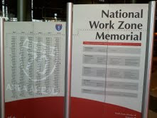 Photo of the National Work Zone Memorial display at the Lambeau Field Atrium on April 12, 2011.