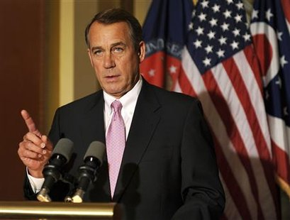 House Speaker John Boehner (R-OH) make remarks to the media on Capitol Hill in Washington, DC April 8, 2011. REUTERS/Mike Theiler