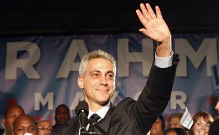 Chicago mayor-elect Rahm Emanuel gestures after speaking to supporters during an election night party in Chicago February 22, 2011. REUTERS/Frank Polich