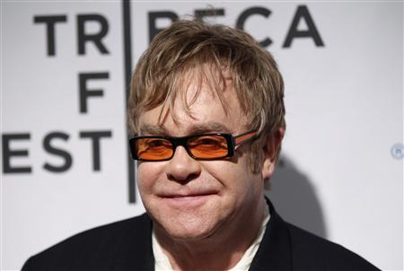 "Sir Elton John attends opening night premiere of ""The Union"" during the 10th annual Tribeca Film Festival in New York April 20, 2011. REUTERS/Lucas Jackson"