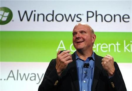 Microsoft CEO Steve Ballmer speaks during the Windows Phone 7 launch in New York, October 11, 2010. REUTERS/Jessica Rinaldi