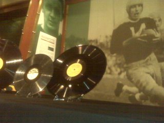 Recordings of a 1940s radio show involving Packers great Don Hutson are seen at the Packers Hall of Fame, April 22, 2011. (courtesy of FOX 11).