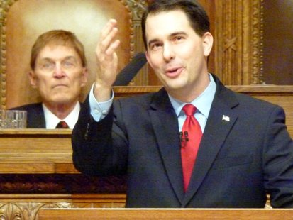 Governor Scott Walker (R) delivers the 2011 State of the State address. (Photo credit: Wisconsin Radio Network)