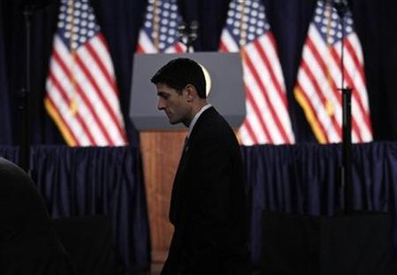 House Budget Committee Chairman Rep. Paul Ryan (R-WI) arrives to listen to President Barack Obama deliver a speech on U.S. fiscal and budgetary deficit policy at the George Washington University in Washington, April 13, 2011. REUTERS/Kevin Lamarque