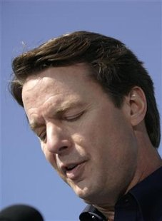 John Edwards looks down during a speech in New Orleans, Louisiana in this January 30, 2008 file photo. REUTERS/Lee Celano