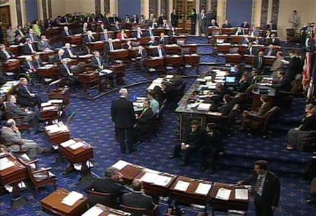 The floor of the Senate chamber is pictured in this video grab from October 1, 2008. REUTERS/U.S. Senate TV/Handout