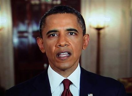 President Barack Obama announces the death of Osama bin Laden during an address to the nation from the White House in Washington, in this still image taken from video May 1, 2011. REUTERS/Pool