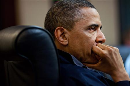 President Barack Obama listens during one in a series of meetings discussing the mission against Osama bin Laden, in the Situation Room of the White House May 1, 2011. REUTERS/White House/Pete Souza/Handout