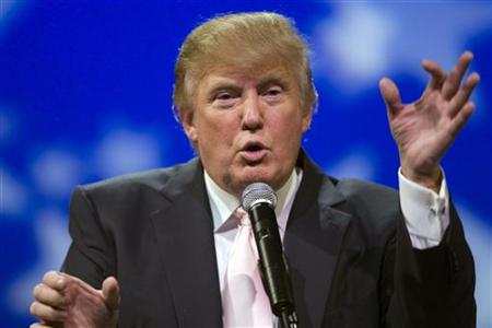 Real estate magnate and television personality Donald Trump speaks to a group of Republican organisations at the Treasure Island hotel and casino in Las Vegas, Nevada April 28, 2011. REUTERS/Las Vegas Sun/Steve Marcus