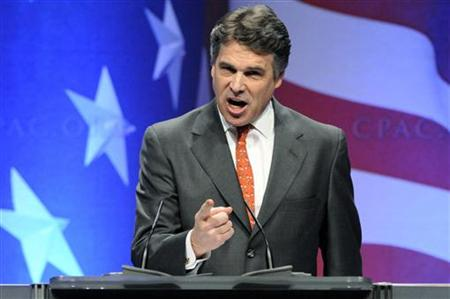 Texas Governor Rick Perry makes a point at the Conservative Political Action conference (CPAC) in Washington, February 11, 2011. REUTERS/Jonathan Ernst