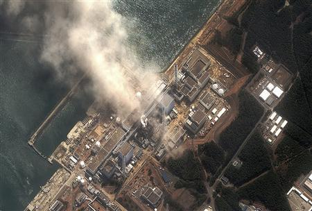 The No. 3 nuclear reactor of the Fukushima Daiichi nuclear plant is seen burning after a blast following an earthquake and tsunami in this handout satellite image taken March 14, 2011.  Credit: Reuters/Digital Globe/Handout