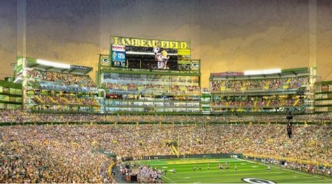 An artists rendering of the south end zone project at Lambeau Field.