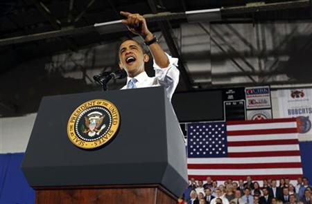President Barack Obama speaks about health insurance reform during a visit to Portland, Maine April 1, 2010. REUTERS/Kevin Lamarque