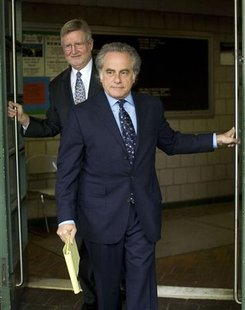 William Taylor (L-R) and Benjamin Brafman, lawyers for IMF chief Dominique Strauss-Kahn, leave NYPD SVU headquarters in Harlem May 15, 2011. REUTERS/Allison Joyce