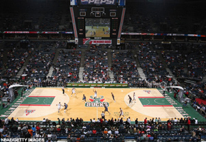 The Bradley Center in Milwaukee, home of the Milwaukee Bucks.