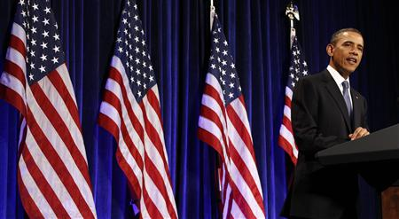 President Barack Obama delivers remarks at the Women's Leadership Forum in Washington May 19, 2011. REUTERS/Kevin Lamarque