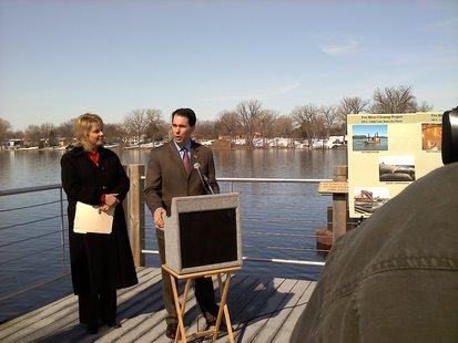 Governor Scott Walker praising the pace of the cleanup of the Lower Fox River on Thursday March 31, 2011.