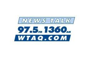 97.5/1360 News Talk WTAQ logo