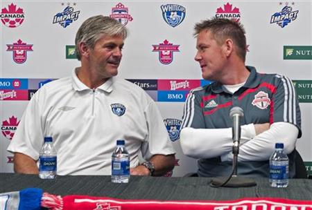 Toronto FC head coach Cummins and Vancouver Whitecaps head coach Thordarson during news conference in Burnaby